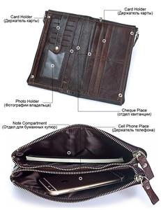 Image 3 - MISFITS Men brand Organizer wallets genuine leather double zipper clutch bag man cow leather Long purse Multi function phone bag