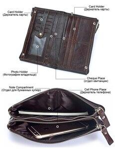 Image 3 - Men famous brand genuine leather double zipper clutch wallet male cow leather Long purses lady Multi function phone bag purse