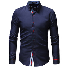 Men Shirt Brand 2019 Male High Quality Long Sleeve Shirts Casual Hit Color Slim Fit Navy Man Dress Camisa Masculina 3XL