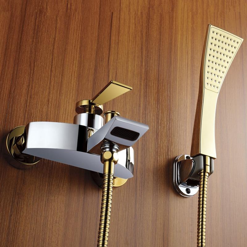 nuovo arrivo disegno di brevetto di lusso in oro miscelatore doccia rubinetto fissato al muro bagno