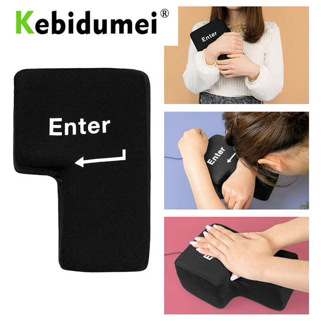 Kebidumei Hot USB Big Enter Key Large Enter Key Decompression Computer Any Vent Pillows Button Desktop Pillow For Programmer