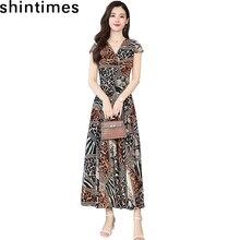 Summer Clothes For Women 2019 Bohemian Leopard Chiffon Dress V-Neck Zipper Loose Short Sleeve Dresses Fashion A-Line Long