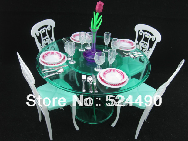 Doll Accessories Girlu0027s toy Furniture with Saucer Dinner Table Chair Set for 1/6 Barbie & Doll Accessories Girlu0027s toy Furniture with Saucer Dinner Table Chair ...