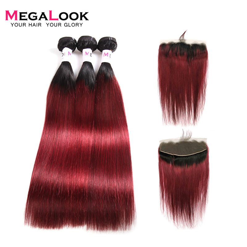 Megalook 1B/99j Ombre Bundles With Frontal Brazilian 100% Straight Remy Human Hair Bundles With Lace Frontal