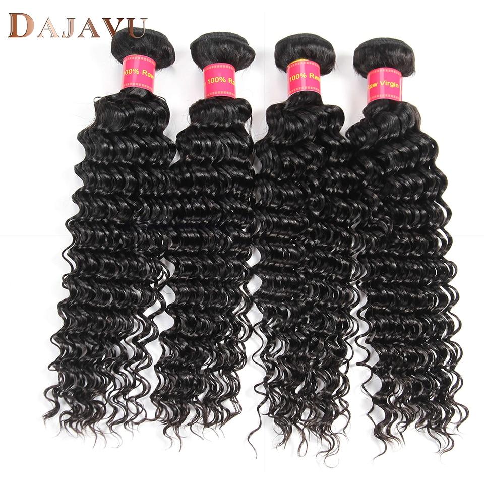 Dejavu Indian Deep Wave Human Hair 4 Bundles Natural Color Non Remy Hair Extension 100% Human Hair Weave 8-28inch