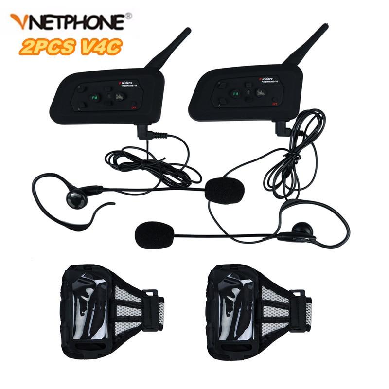 2PCS Football Referee Intercom Headset Vnetphone V4C 1200M Full Duplex Bluetooth Interphone with FM for 4 Users