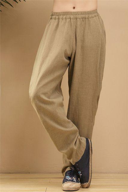 Vintage Ethnic men's Tide Trend Mid Waist fluid Linen Harem Pants Chinese Style Men Casual Long Pants Punk Hiphop Joggers 100807