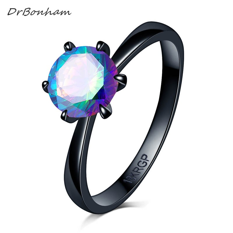 Customize Antique colorful 7mm Zircon 6 prong Ring Fashion Black Gold Filled Wedding Rings For Women