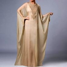 Saudi Arabic Dress O-neck Beads Islamic Muslim Dress Long Sleeve Chiffon Evening Dresses Turkey Kanftans Dubai Evening Gowns
