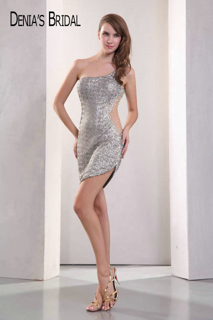 64cce832 Real Photos Silver One-Shoulder Sequin Lace Mini Cocktail Dresses Cut-out  Side Beaded
