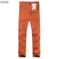 Sea cloud trasporto libero più il formato grande dritto cotone elasticizzato a vita alta jeans casual pantaloni militari allentati orange pantaloni lunghi