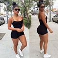 Sexy Women One Piece Fitness Short Jumpsuit Cotton Slim XL Black Playsuits Ladies Summer Bodycon Overall Rompers Macacao curto