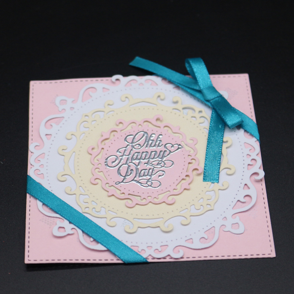 Nice Festival Greeting Card Round Frame Metal Dies Cutting Embossing