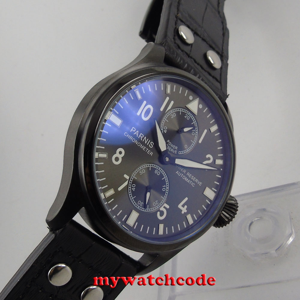 47mm parnis black dial PVD case power reserve ST 2542 automatic mens watch P106B стоимость