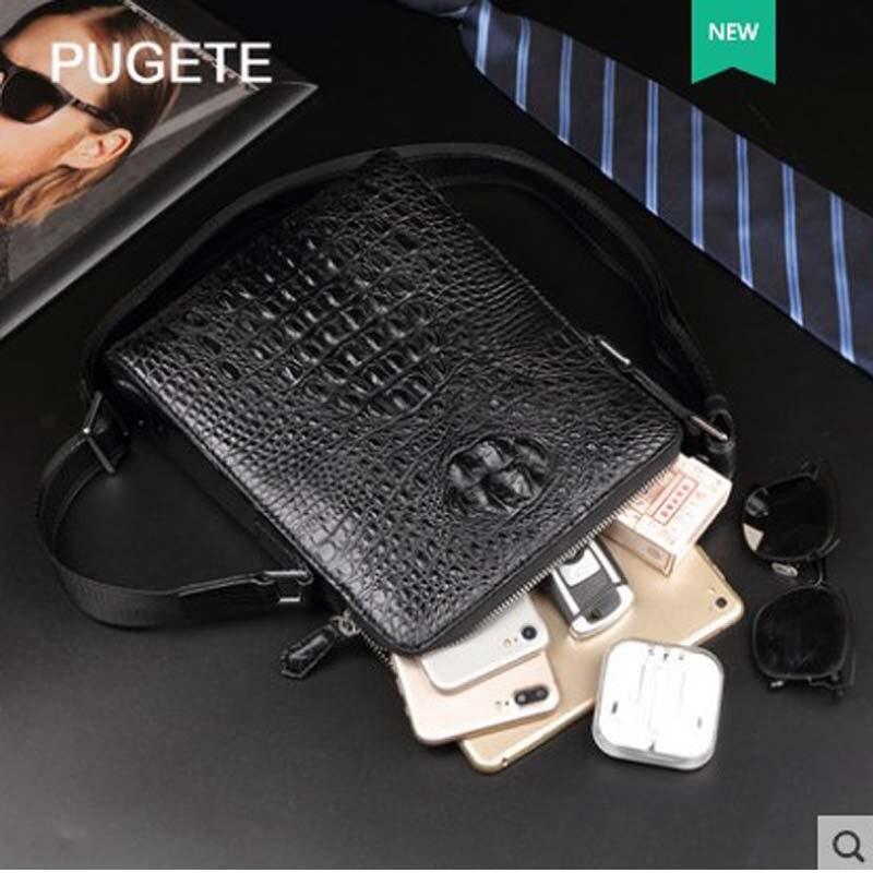 Pugete 2019 Новая мужская сумка из крокодиловой кожи, кожаная деловая сумка на одно плечо, молодежная сумка для отдыха, модная мужская сумка из крокодиловой кожи - 3