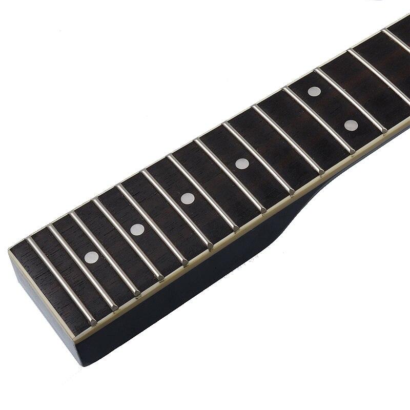 22 frette érable palissandre touche guitare cou avec point blanc reliure guitare cou pour Lp guitare électrique remplacement noir - 5