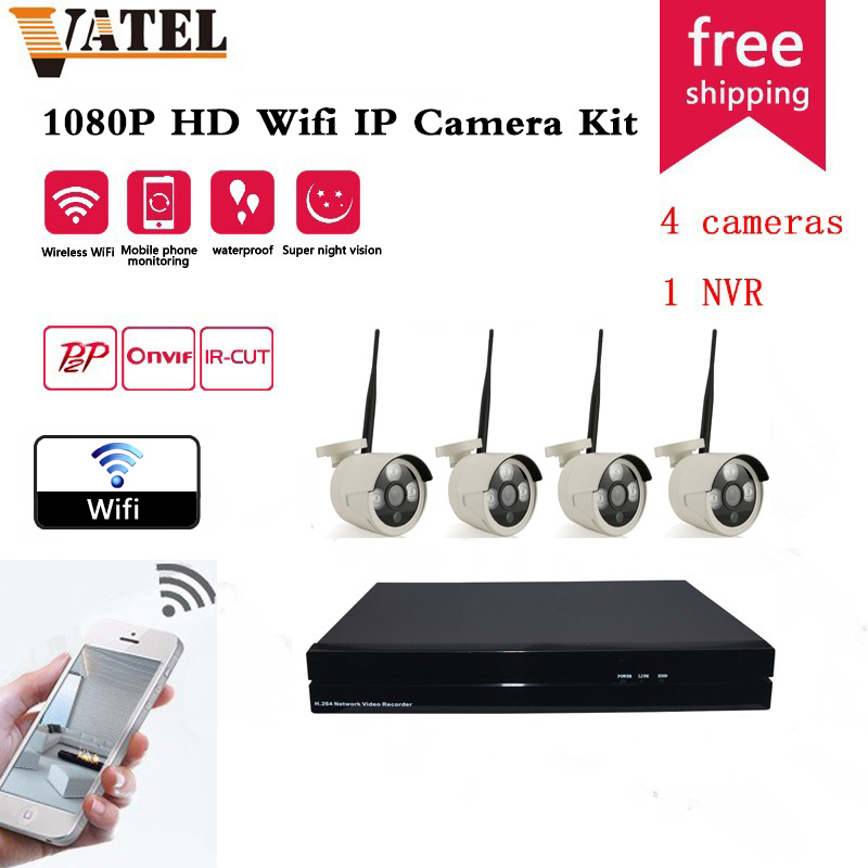 4pcs bullet wireless wifi ip font b camera b font 720P 960P sony323 wifi system 8CH