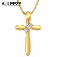 Classic Cross Design Silde Pendant Necklace 14K Solid 585 Yellow Gold Real Natural Diamond Pendants For Women, 18' Gold Chain