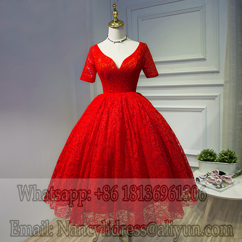 Real Picture Vintage Short Lace Ball Gown Prom Dresses V Neck 1950 S Women Dress In From Weddings Events On Aliexpress Alibaba Group