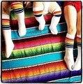 Myudi-Радуга Дети Колено Высокие Носки Хлопчатобумажные Гольфы Студент школы Девушки Парни Полосатый Белый Семьи Носки для Новорожденных Детей обувь