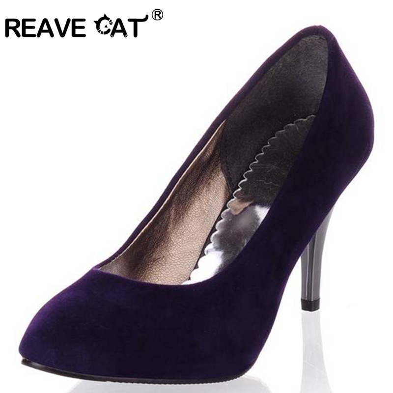 REAVE CAT Plus Size 34-43 Spring Summer Women Shoes Pointed Toe Spool Heels Flock Sandals Pumps Fashion Sexy Party Purple QL4451