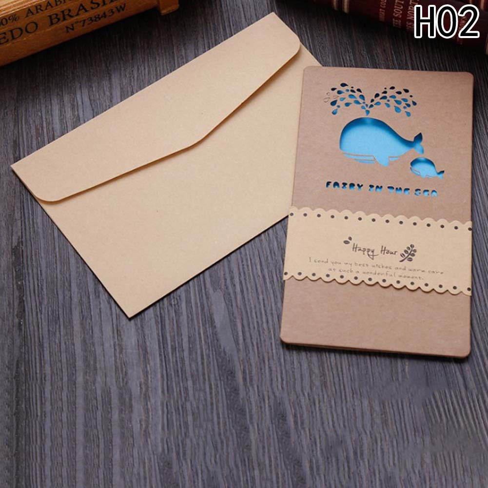 1pc Creative Hollow Out Kraft Paper Small Card With Envelope