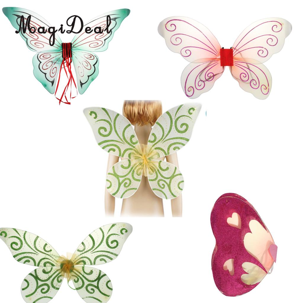 MagiDeal New Glitter Butterfly Angel Fairy Wings Kid Child Party Costume Fancy Dress For Kindergarten Birthday Dress Accessory