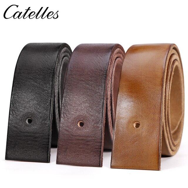 Catelles Cinturón de cuero genuino sin hebilla para hombre, cinturón masculino de diseño de alta calidad, sin Pin