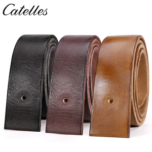 Image 1 - Catelles No Buckle Genuine Leather Belt Men Luxury Without Pin buckle Strap Male Jeans Designer Belts For Men Belts High Quality