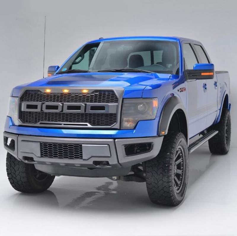 Us 211 24 35 Off Montford For Ford F150 2009 2014 Abs Plastic Material Black Front Racing Grill Mesh Grille Cover Trim With Led Light Car Styling In