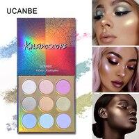 UCANBE блеск хайлайтер Макияж 9 видов цветов светящийся набор Duo хром тени для век Палитра мерцающий телесный голографический осветитель Золот...