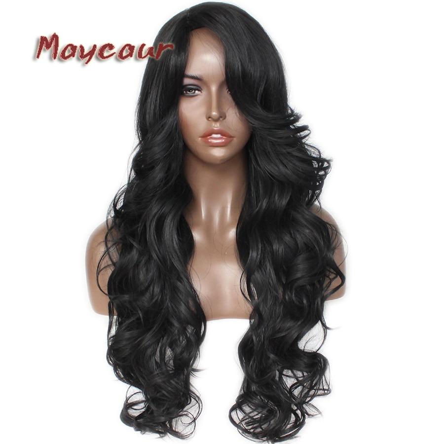 Glueless μαύρο μακρύ κυματιστό περούκα με - Συνθετικά μαλλιά - Φωτογραφία 4