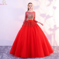 56859a217 Red Quinceanera Dresses 2019 Simple Sequined Tulle Ball Gown Graduation  Scoop Neck 3 4 Sleeves Floor. Red Vestidos ...