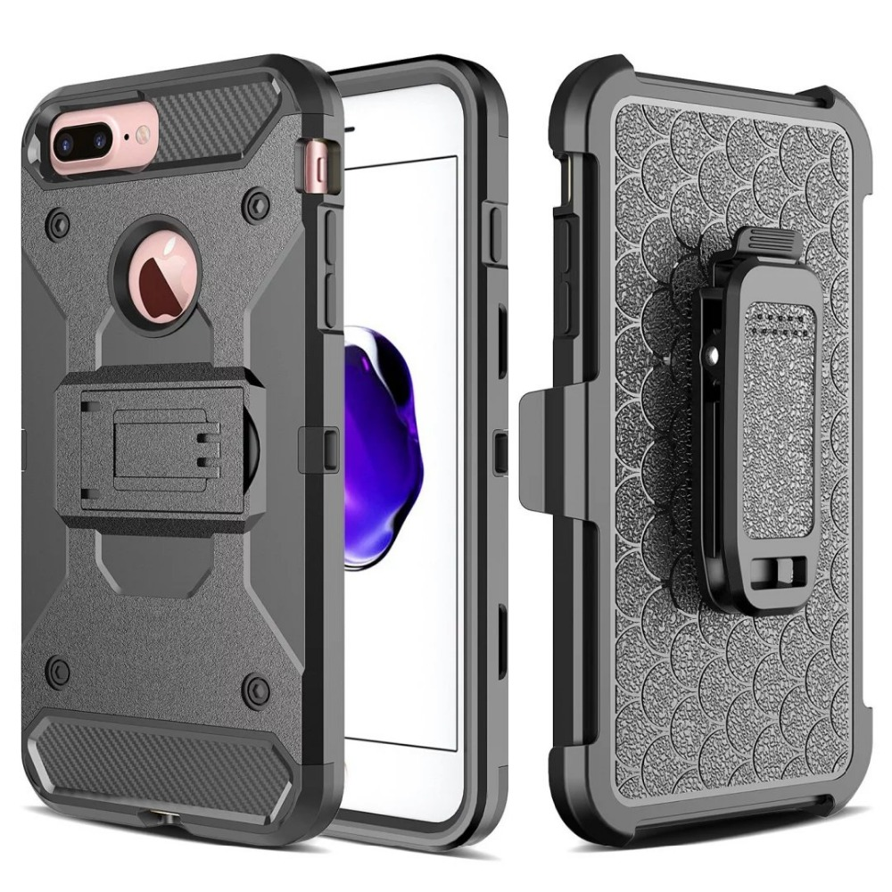 new concept 9d8cf 50ba0 US $9.16  for apple iphone 6 plus TPC + Silicone Military Phone Cases Belt  Clip Holster Stand Armor phone Case for iphone 6s plus-in Fitted Cases from  ...