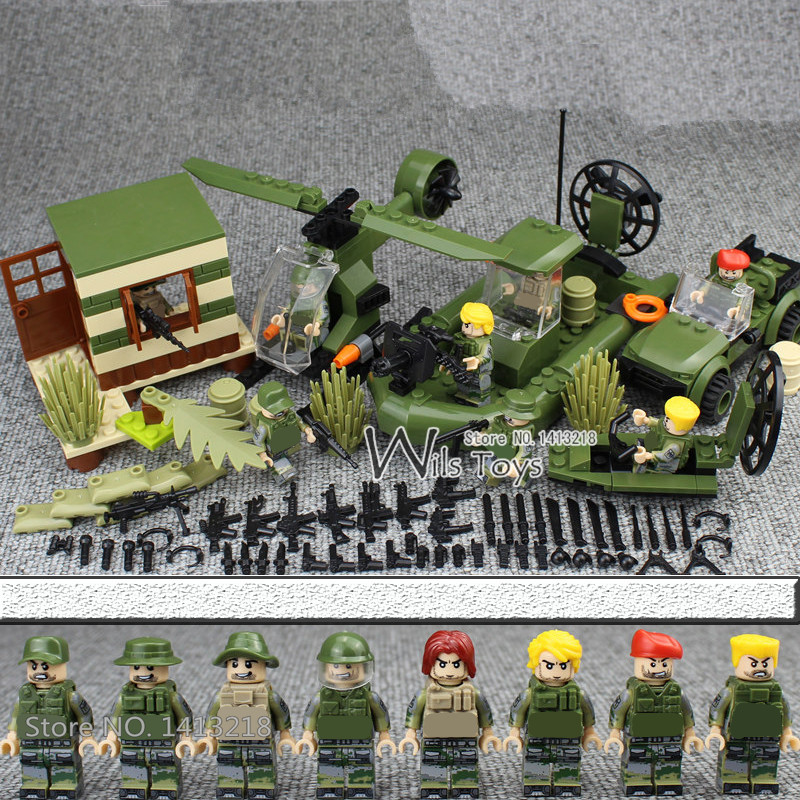 4 in 1 MILITARY Army SWAT Soldier Car Helicopter Navy Seals Team Marines Building Blocks Bricks Figures Toys Gifts Boys Children xinlexin 317p 4in1 military boys blocks soldier war weapon cannon dog bricks building blocks sets swat classic toys for children