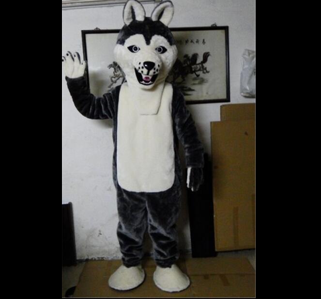 Fantaisie chien gris Husky chien avec l'apparence de loup Mascotte Costume Mascotte adulte dessin animé personnage partie livraison gratuite