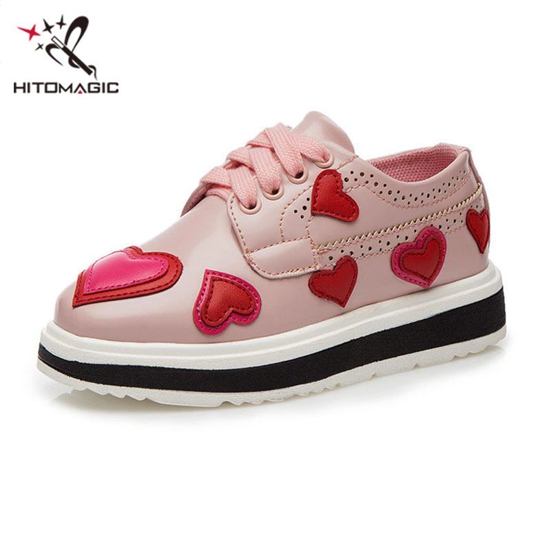 HITOMAGIC 2017 Spring New Fashion Girls Sneakers Kids Pink Girls Shoes Brand Soft PU Leather Loafers Sport Children Footwear