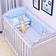цена на 6Pcs/Lot Cartoon Plane Baby Bed Bumpers for Boys Crib Cot Bumper Baby Bed Protector Crib Bumper Newborns Toddler Bed Bedding Set