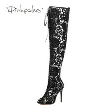Pink Palms 2017 Newest Women Boots Summer Sandals Spring Autumn Shoes High heels Open Toe Bud Silk Flower Lace Over Knee Boots