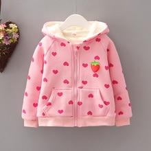Толстовки с капюшоном для маленьких девочек; Новинка года; сезон осень-зима; милая верхняя одежда с длинными рукавами; детское хлопковое пальто; куртка; топы для девочек; детская одежда