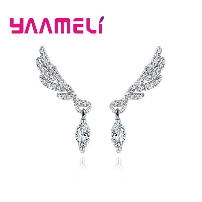 YAAMELI New Arrival Woman Wing Shape Stud Earrrings 100% 925 Sterling Silver Female Crystal Pendant Earrings Wholesale ...