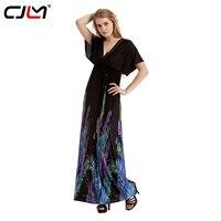 CJLM Vrouwen Zomer Vestido Zwarte Veer Bloemenprint Sexy Dauw terug Hoge Taille Losse Lange Jurk Korte Mouw Strand V-hals jurken