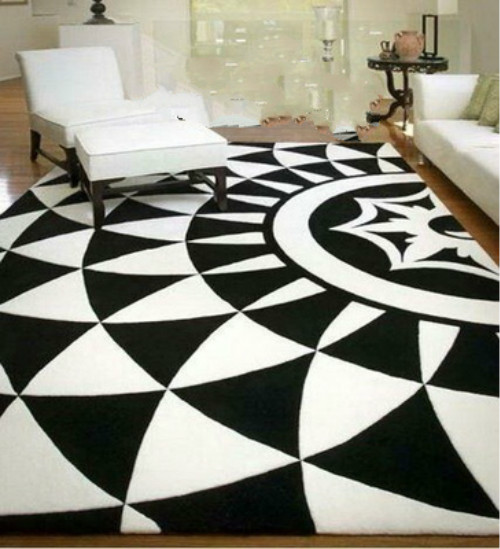 Tapis noir et blanc de mode européenne WINLIFE, le salon le tapis Tartan de chambre, tapis en acrylique