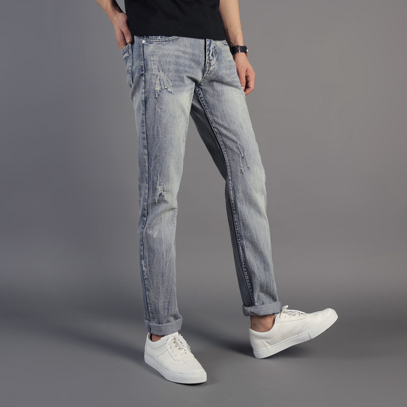 DSEL Brand Streetwear Youth Men Jeans Italian Style Fashion Mens Jeans Light Blue Color Slim Fit Denim Ripped Jeans Men Pants