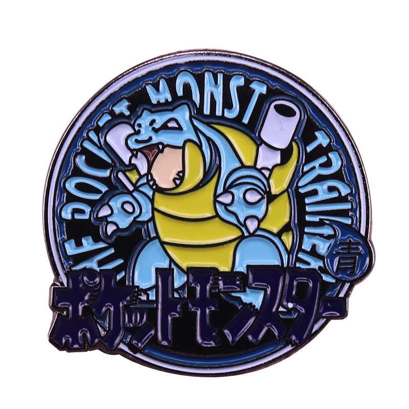 Biru Blastoise Emblem Bros Lucu Pokemon Game Pin Budaya Pop Lencana Kreatif Kartun Aksesori Teman Hadiah