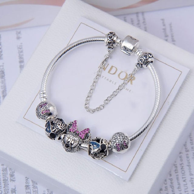925 Sterling Silver Charms Minnie Pave Cz European Charm Bracelet Pandora Original With Heart Safety Chain