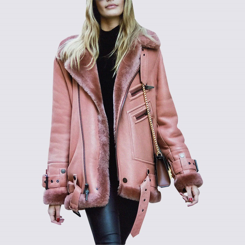 Winter   Leather   Jackets Women   Leather   Winter Coat Fur Collar Lady Streetwear Thicken Belt Outerwear PINK