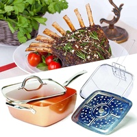Ceramic Non Stick Pan Copper Square Pan Induction Chef Glass Lid Fry Basket Steam Rack 4 Piece Set Used In Induction 9.5 Inches