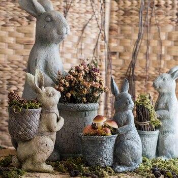 American vintage creative resin rabbit flowers vase home decor living room crafts room decoration garden rabbit vases ornaments