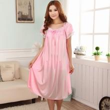 Free shipping Summer nightgown female short-sleeve plus size nightgown lounge full dress sleepwear 4xl Sleepshirts